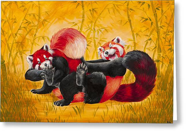 Tickle Greeting Cards - Tickle Fight Greeting Card by Beth Davies