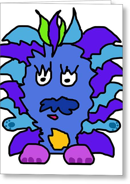 Character Portraits Digital Art Greeting Cards - Tickle Monster Greeting Card by Jera Sky