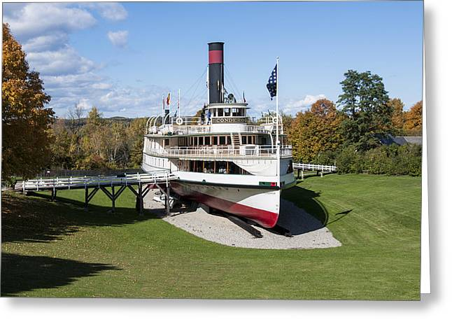Print; Paddle Steamer Greeting Cards - Ticonderoga Lake Champlain Steamboat Greeting Card by Paul Cannon