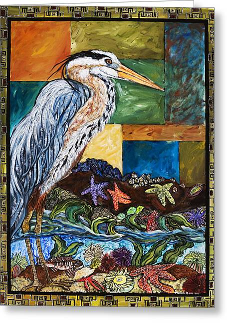 Cole Paintings Greeting Cards - Tidepool Heron Greeting Card by Melissa Cole