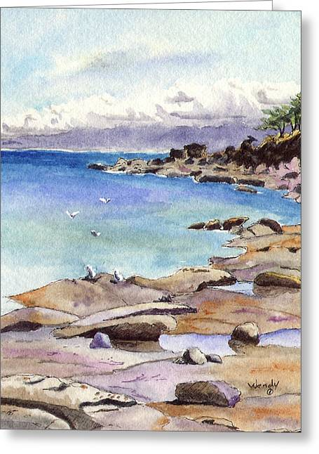 British Columbia Drawings Greeting Cards - Tides Out at Tribune Bay on Hornby Island Greeting Card by Wendy Mould