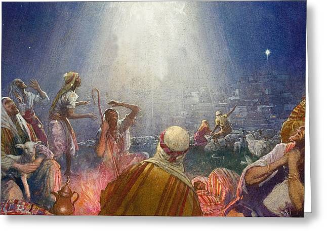 Recently Sold -  - Star Of Bethlehem Greeting Cards - Tidings of Great Joy Greeting Card by John Millar Watt
