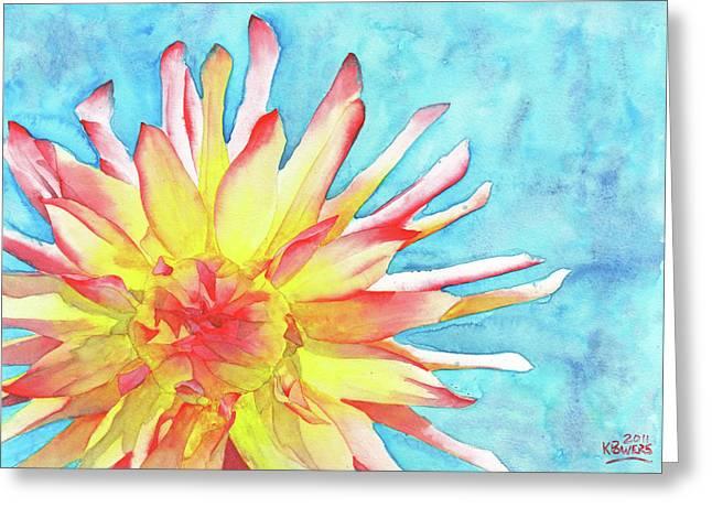 Dahlia Greeting Cards - Tie-Dye Dahlia Greeting Card by Ken Powers