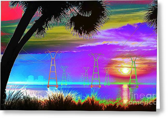 Generators Greeting Cards - Tie-Dyed Sunrise at the Plant Greeting Card by Lynda Dawson-Youngclaus