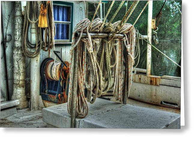 Crimson Tide Digital Art Greeting Cards - Tied up lines Greeting Card by Michael Thomas