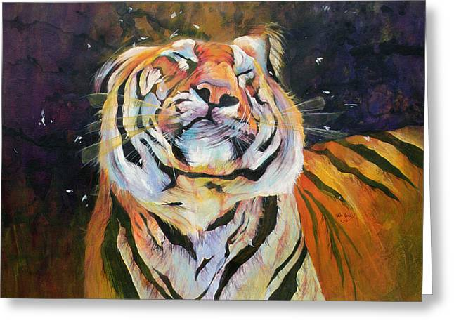 Tiger - Shaking Head  Greeting Card by Odile Kidd
