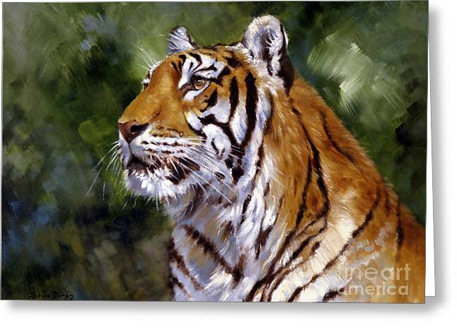 Beautiful Day Greeting Cards - Tiger Alert Greeting Card by Silvia  Duran