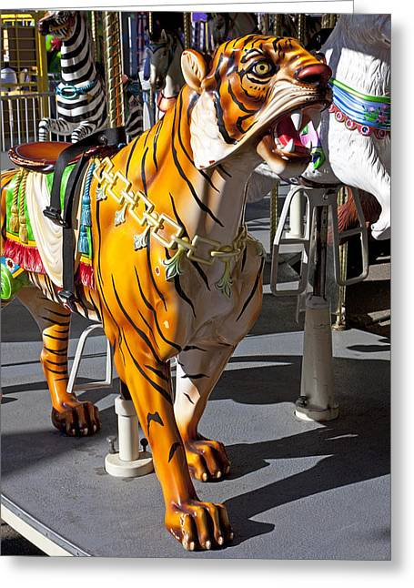 Fangs Greeting Cards - Tiger carousel ride Greeting Card by Garry Gay