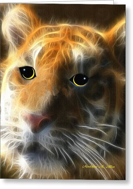 Quality Mixed Media Greeting Cards - Tiger Cub Greeting Card by Madeline  Allen - SmudgeArt