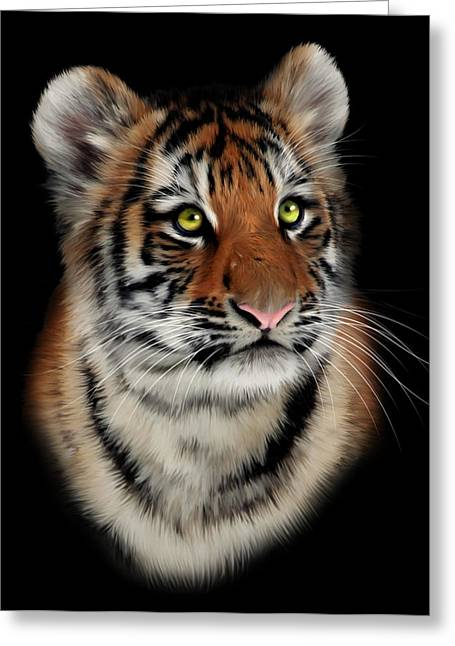 Tigris Greeting Cards - Tiger Cub Portrait Greeting Card by Julie L Hoddinott