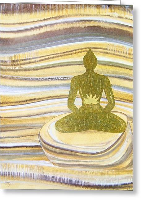 Yellow Chakra Greeting Cards - Tiger Eye Solar Plexus Chakra Greeting Card by Jennifer Baird