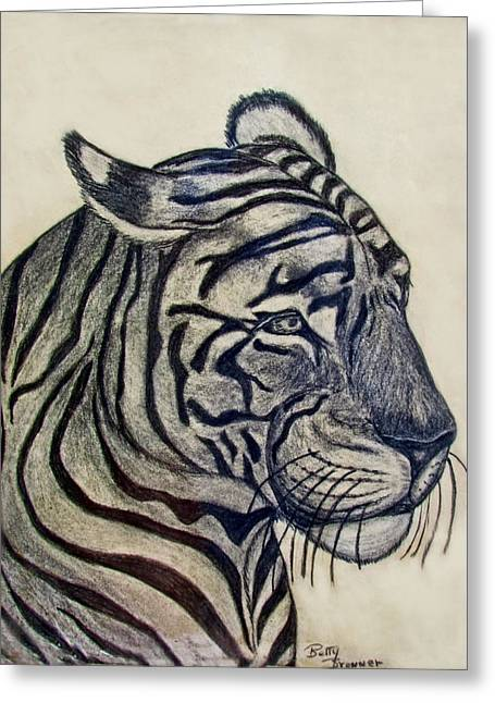Photomanipulation Drawings Greeting Cards - Tiger I Greeting Card by Debbie Portwood