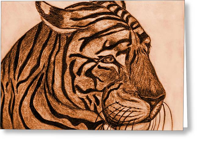 Photomanipulation Drawings Greeting Cards - Tiger III Greeting Card by Debbie Portwood
