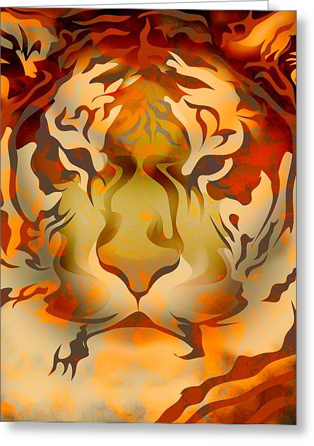 Animalia Greeting Cards - Tiger Illustration Greeting Card by Design Pics Eye Traveller