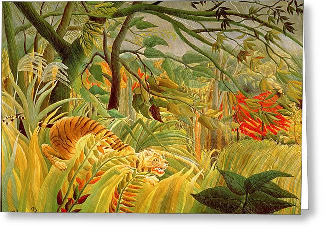 1891 Greeting Cards - Tiger in a Tropical Storm Greeting Card by Henri Rousseau