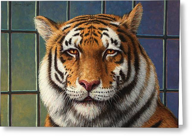 Tiger in Trouble Greeting Card by James W Johnson