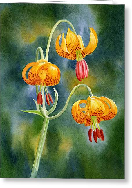 Watercolor Tiger Greeting Cards - Tiger Lilies #2 Greeting Card by Sharon Freeman