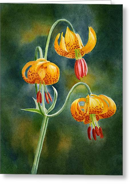 Lily Art Greeting Cards - Tiger Lilies #3 Greeting Card by Sharon Freeman