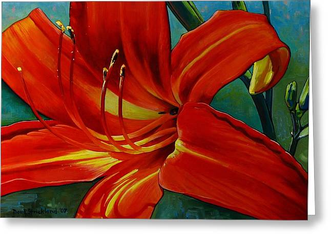 Stamen Paintings Greeting Cards - Tiger Lily Greeting Card by Doug Strickland