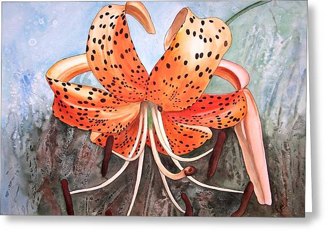 Tiger Lily Greeting Card by Karen Casciani