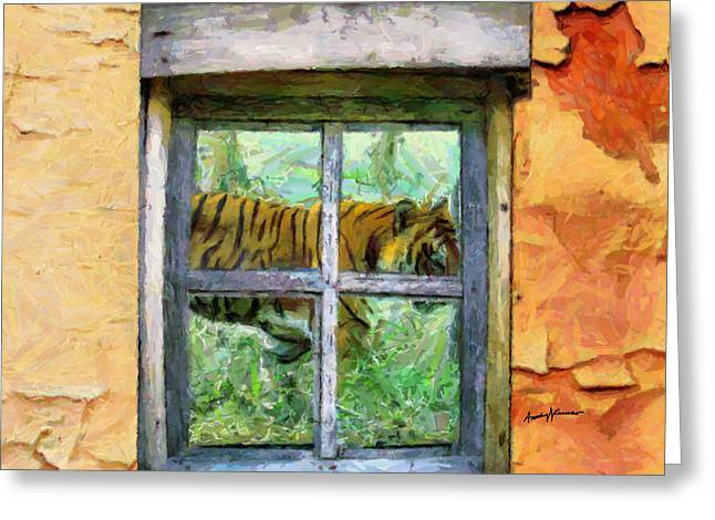 Cabin Window Digital Art Greeting Cards - Tiger Outside My Window Greeting Card by Anthony Caruso