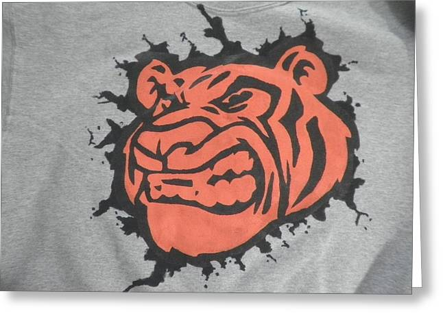 Tiger Splatter Custom painted Crewneck sweatshirt Greeting Card by Joseph Boyd