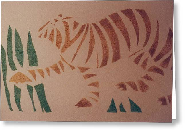 The Tiger Drawings Greeting Cards - Tiger stencil Greeting Card by Rebecca Lilley
