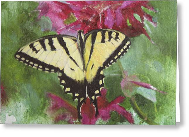 Floral Still Life Greeting Cards - Tiger Swallowtail Greeting Card by Anna Bain