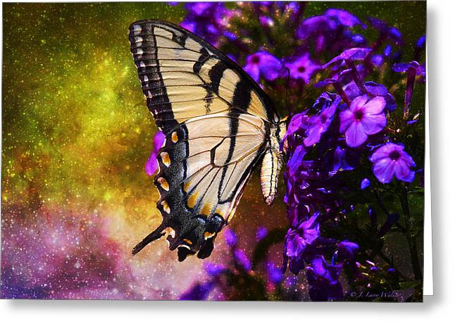 Tiger Swallowtail Digital Art Greeting Cards - Tiger Swallowtail Feeding In Outer Space Greeting Card by J Larry Walker