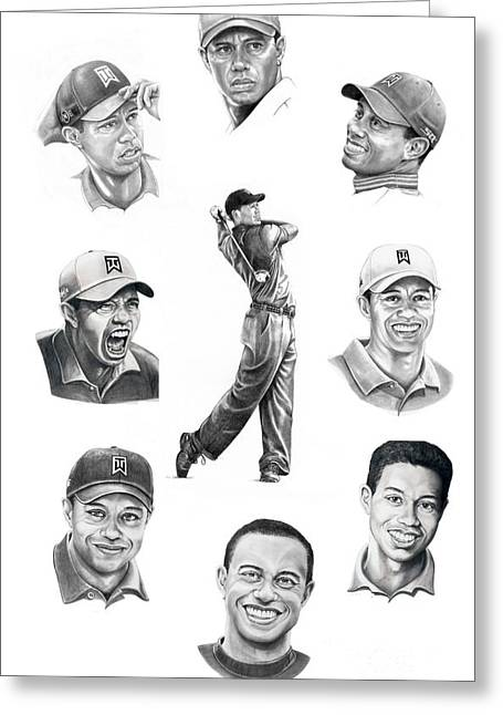 Tiger Drawings Greeting Cards - Tiger Woods-Murphy Elliott Greeting Card by Murphy Elliott