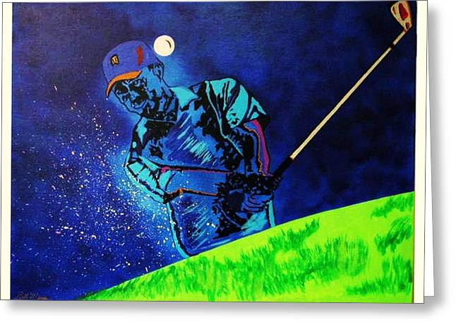 Tiger Woods-Playing in the Sandbox Greeting Card by Bill Manson