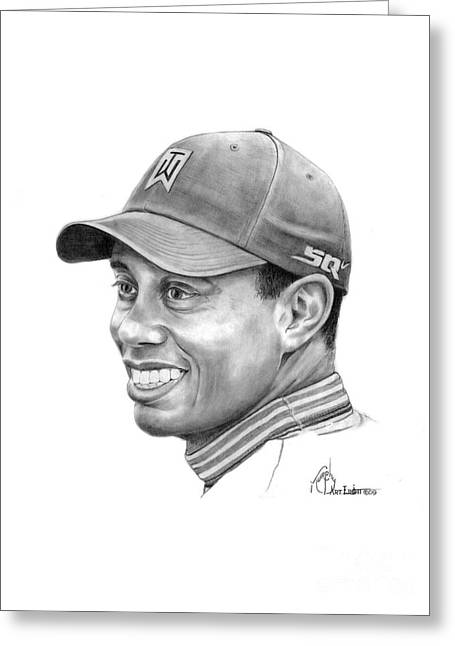 Tiger Drawings Greeting Cards - Tiger Woods Smile Greeting Card by Murphy Elliott