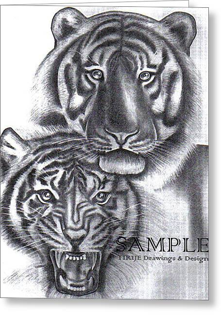 Refurbished Photos Drawings Greeting Cards - Tigers Greeting Card by Rick Hill