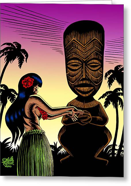 Pop Mixed Media Greeting Cards - Tiki Sunset Greeting Card by Keith Tucker