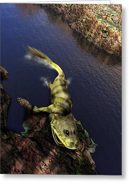 Missing Greeting Cards - Tiktaalik Prehistoric Fish, Artwork Greeting Card by Victor Habbick Visions