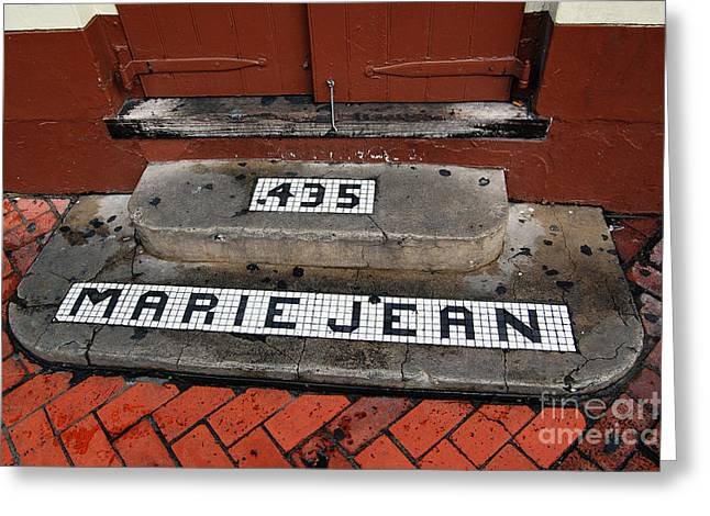 New Orleans Greeting Cards - Tile Inlay Steps Marie Jean 435 French Quarter New Orleans  Greeting Card by Shawn O