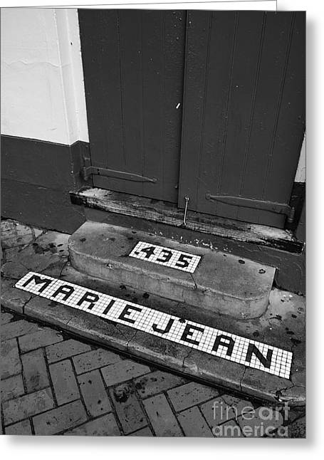 French Quarter Greeting Cards - Tile Inlay Steps Marie Jean 435 Wooden Door French Quarter New Orleans Black and White Greeting Card by Shawn O