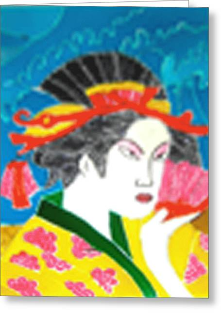 Japan Glass Art Greeting Cards - Tile Painting Greeting Card by Manisha Jain