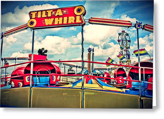 Tilted Greeting Cards - Tilt-A-Whirl Carnival Ride Greeting Card by Eye Shutter To Think