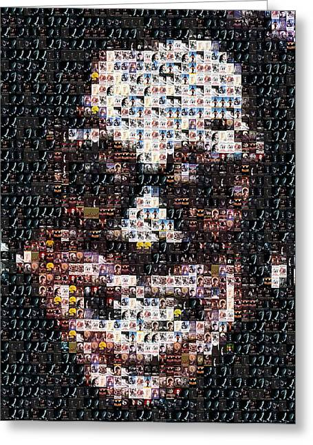Burton Mixed Media Greeting Cards - Tim Burton Movie Poster Mosaic Greeting Card by Paul Van Scott