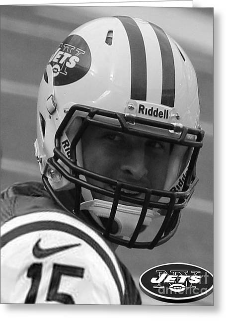 Tebow Greeting Cards - Tim Tebow - Black and White - New York Jets Florida Gators - Timothy Richard Tebow Greeting Card by Lee Dos Santos