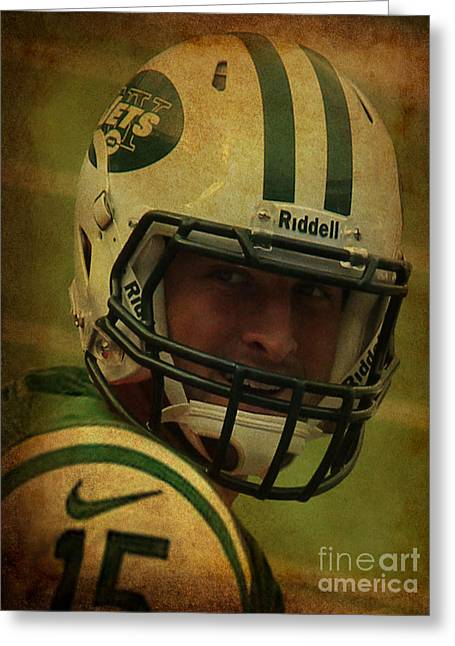 Tebow Greeting Cards - Tim Tebow - New York Jets - Timothy Richard Tebow Greeting Card by Lee Dos Santos