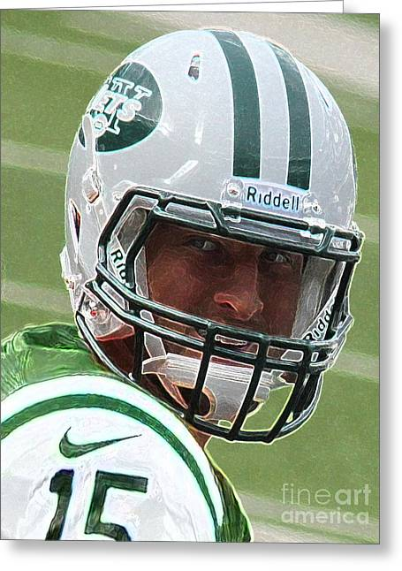 Jet Star Greeting Cards - Tim Tebow Art Deco III - New York Jets -  Greeting Card by Lee Dos Santos