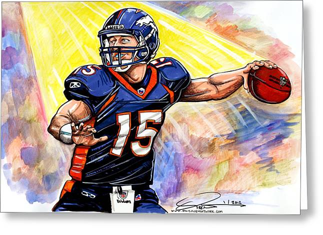 Tebow Greeting Cards - Tim  Tebow Greeting Card by Dave Olsen