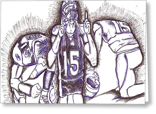 Best Sellers -  - Tebowing Greeting Cards - Tim Tebow glory Greeting Card by HPrince De Artist