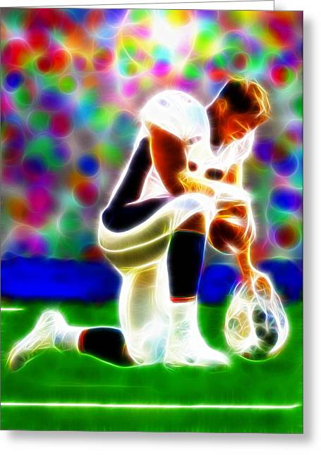 Tebow Greeting Cards - Tim Tebow Magical Tebowing 2 Greeting Card by Paul Van Scott