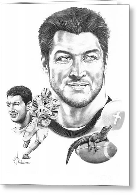 Tebow Greeting Cards - Tim Tebow-Tim Tebow Greeting Card by Murphy Elliott