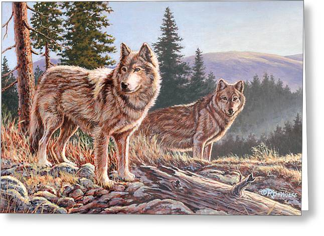 Wolf Greeting Cards - Timber Ridge Greeting Card by Richard De Wolfe