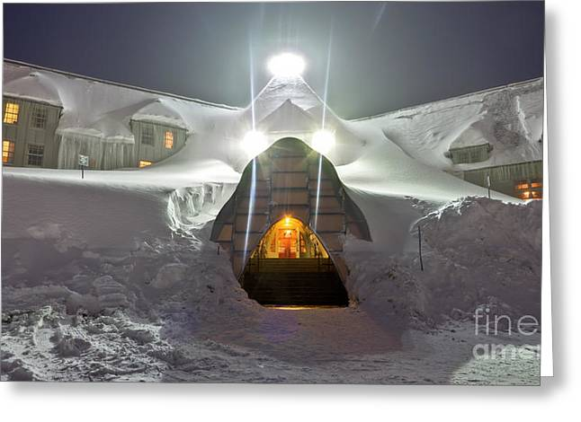 Timberline Lodge Entry Mt Hood Snowdrifts Greeting Card by Dustin K Ryan