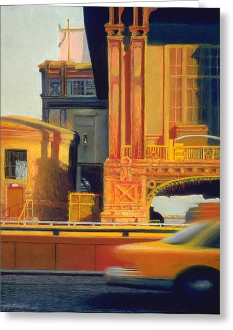 Times Square Pastels Greeting Cards - Time and Motion Study Greeting Card by Michael Cook